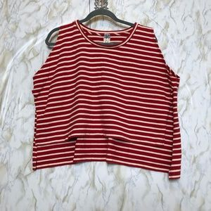 We the free small red striped crop pullover tank